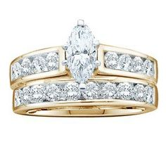 1 Carat Marquise Round Diamond 14k Yellow Gold Bridal Set Ring Sea of Diamonds. $1495.00