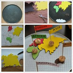 TURN OLD CAKE PAN TO MAGNETIC CONTINENTS ACTIVITY. moosgummi continents with magnetic foil.