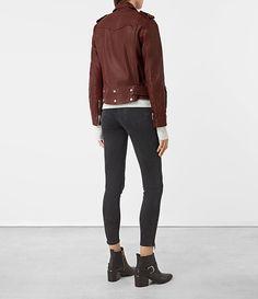 Womens Gidley Leather Biker Jacket (BORDEAUX RED) - product_image_alt_text_5
