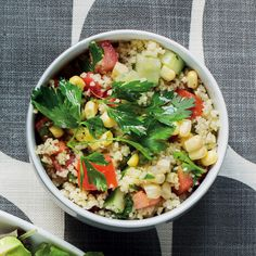 Couscous tabbouleh with chickpeas and corn - MyKitchen Vegan Gluten Free, Vegan Vegetarian, Grain Salad, Plant Protein, Dinner Salads, Chickpeas, Couscous, Free Food, Meals