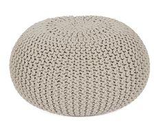 Pouf tricoté coton, taupe - Ø55