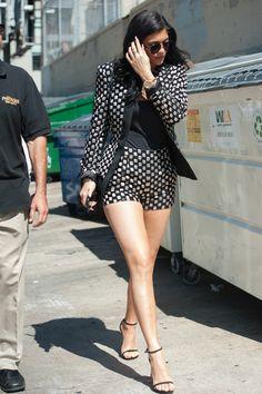 Kylie in Stuart Weitzman sandals   - HarpersBAZAAR.com