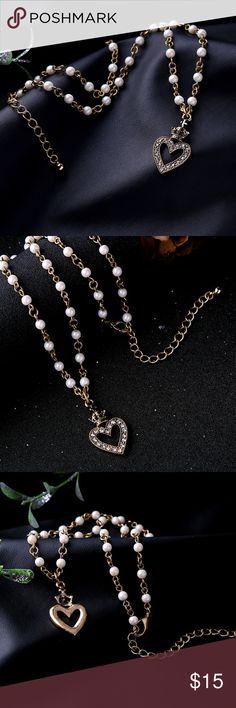 "Beloved Princess Necklace 18"" Faux Pearl Gemstones Jewelry Necklaces"