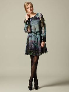 SILK CHIFFON GRAPHIC PRINT BLOUSON SLEEVE DRESS