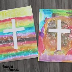 Easter Cross Watercolor Resist Painting Finished