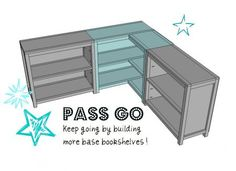 I want BOB to make this!  DIY Furniture Plan from Ana-White.com  How to build a corner bookshelf! Free step by step plans!