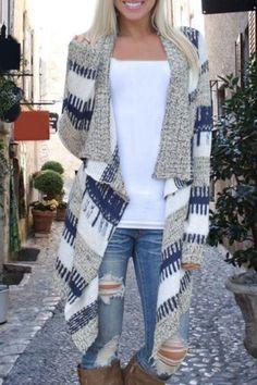 Multicolor Geometric Print Patchwork Irregular Fashion Cardigan Sweater