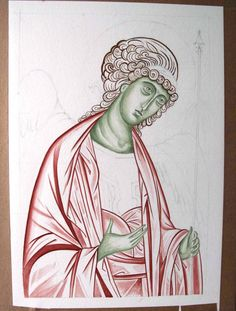 Archangel Michael, Underpainting garments, hair and face Christian Drawings, Christian Art, Byzantine Icons, Byzantine Art, Religious Icons, Religious Art, Crafty Angels, Paint Icon, Painting Courses