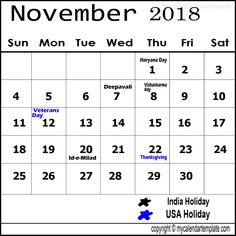 November 2018 Calendar India Holidays November Calendar Calendar