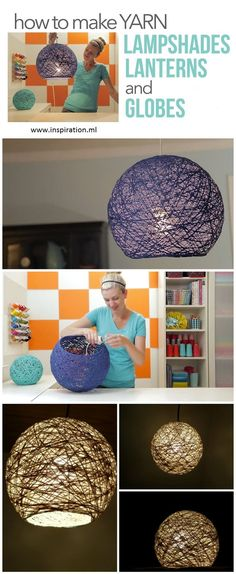 How to Make Wonderful Lamp Shade and Lanterns in 5 Simple Steps Diy Projects To Try, Craft Projects, Bernat Baby Yarn, Fun Crafts, Diy And Crafts, Crochet Baby Blanket Beginner, Diy Organization, Lampshades, Decoration