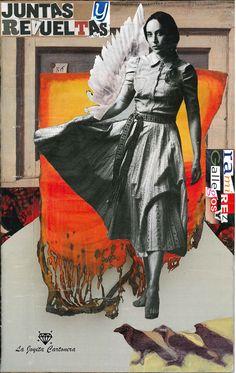 Editorial Cartonera   La Joyita   Collage Mujer semialada. Ilustración de María Elena Monsalve, de La Joyita Cartonera.