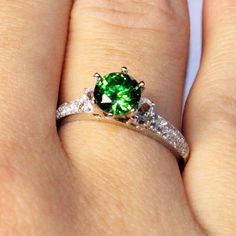 Solitaire Emerald Promise Ring – Green Cubic Zirconia