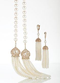 #Coscia Tassel necklace and earrings in yellow gold and white cultured pearls