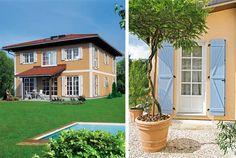 mediterrane Häuser, Sprossenfenster, Klappläden, Foto: ELK (links), WeberHaus (rechts)