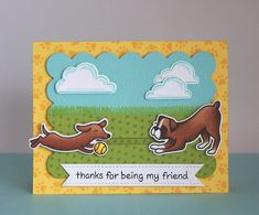Lawn Fawn - Critters at the Dog Park, Blue Skies  _ Yainea's unique slider card puts our cute dachshund in motion!