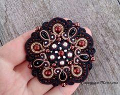 Elegant Brown Black  Soutache Brooch - Hand Embroidered Soutache Jewelry - Soutache Brooch - Soutache Jewelry