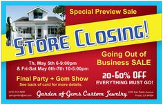 With a heavy heart I have to announce this will be our last Mother's Day Gem Show & Sale. Our customers & fans get a preview sale Th 5/5 - Sat 5/7 and then our Going Out of Business Sale opens to the public on Tue 5/10. This is your last chance to shop David Kaassamani's Brazilian gemstone collection and your last chance to party with us. #goodbyeGOG #thanksforthememories #endofanera