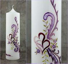 Hochzeitskerze violettes Ornament Hochzeit in lila von Kreatiwita #etsyde #unseretsy #kunsthandwerk #weddingcandles