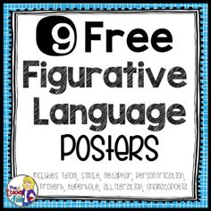 These 9 Figurative Language Posters are a great way for you to introduce different types of figurative language and can also be displayed in the classroom and used as a reference for your students. There is a poster for each type of figurative language including similes, idioms, metaphors, hyperboles, proverbs, alliterations, personifications, and onomatopoeias, as well as a title poster that says Figurative Language.