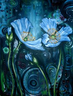Blue Poppies  Finding Beauty in Chaos  by Cherie Roe Dirksen on Etsy, $195.00.  Get her latest book 'Creative Expression' FREE on www.cherieroedirksen.com