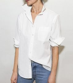 We borrowed a shirt from the boys and tweaked it to create the perfect oversized laid back look for the girls. Its smooth light weight texture has a translucent Tucked In Shirt Outfit, Half Tucked Shirt, White Button Down Shirt, White Shirts, Button Downs, Cool Outfits, Summer Outfits, Fashion Outfits, Amazing Outfits