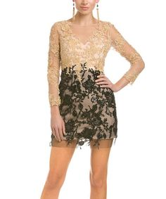 Look what I found on #zulily! Gold Floral Mesh Overlay Bodycon Dress #zulilyfinds