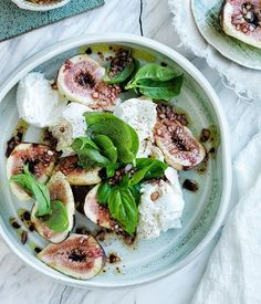 Black fig, mozzarella and basil salad recipe. @thecoveteur