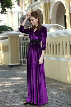 Long dress velvet violet