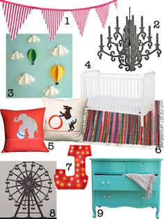 husband always asking me what my style is: this is it for a little girl's room, but without the specific circus look