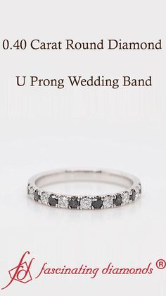 This diamond u prong wedding band flourishes fine elegance with an array of tiny glittering round shaped white & black diamonds aligned in a classic u prong setting halfway through the petite wedding band adding immaculate charm and opulence to your look. #fascinatingdiamonds #diamondband #weddingband #diamondring #womens #jewelry Best Diamond, Diamond Bands, Diamond Wedding Bands, Black Diamonds, Round Diamonds, Women's Jewelry, Jewelry Accessories, Gold Ring Designs, Sapphire Jewelry