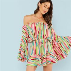 627d3ea596a0 Monica Flare Sleeve Striped Playsuit