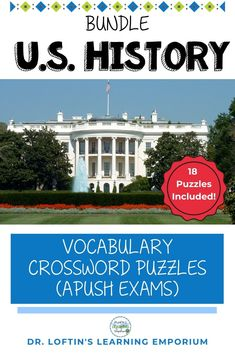 A strong knowledge of vocabulary is one of the most important factors for success on the AP U.S. History test. This bundle includes 28 crossword puzzles with all the vocabulary students will need for the APUSH exam. #USHistory #DrLoftinsLearningEmporium Teaching Us History, American History Lessons, Ap World History, History Class, History Education, Ancient History, Social Studies Lesson Plans, Social Studies Notebook, Social Studies Activities