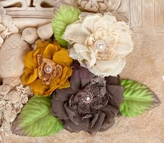 """Fabric Flowers - Paquita Woodland 566456 chiffon lace fabric flowers 2""""- to 3"""" size (3 pcs)  applique flower floral embellishment  hair hat"""