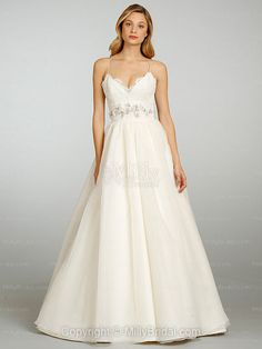 wedding dresses with straps or sleeves | ... Spaghetti Straps Organza Satin Sweep Train Ivory Lace Wedding Dresses