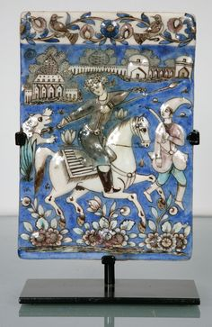 Persian Qajar Tile 19th Century | From a unique collection of antique and modern ceramics at http://www.1stdibs.com/furniture/asian-art-furniture/ceramics/