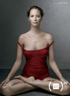 2006: Another yoga pose for Gap's Product (Red) campaign, which provides AIDS relief.