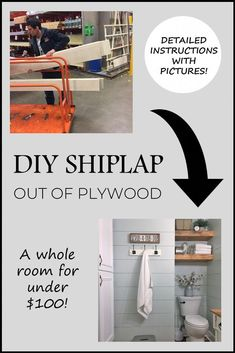 DIY Shiplap out of Plywood / How to install shiplap / detailed instructions for diy shiplap / easy shiplap / affordable wall treatment Home Renovation, Home Remodeling, Installing Shiplap, Budget, Ship Lap Walls, Wall Treatments, List, Furniture Plans, Diy Furniture