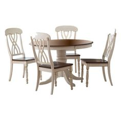 5 Pc Countryside Round Table Set - Antique White.Opens in a new window