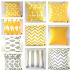 Decorative Pillows, Throw Pillows, Accent Pillows! Yellow and Gray Mix and Match. $16,00, via Etsy.