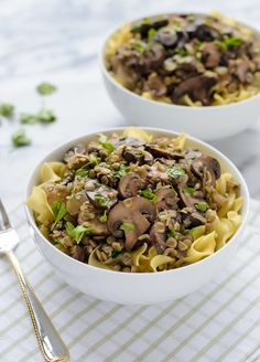 Lentil Mushroom Stroganoff by wellplateadbyerin: Skip the beef and make this healthy mushroom stroganoff recipe instead. #Stroganoff #Lentil #Mushroom #Veggie