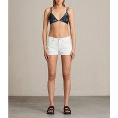 AllSaints Cara Neluwa Bikini Top (£24) ❤ liked on Polyvore featuring swimwear, bikinis, bikini tops, black, bikini bottom swimwear, swimsuit tops, palm leaf bikini, triangle swimsuit top and triangle bikinis