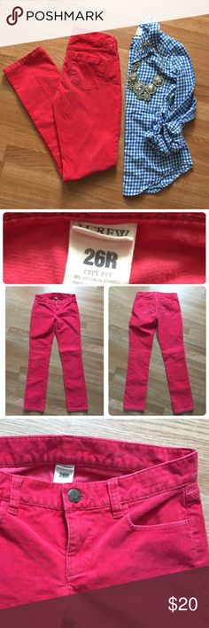 "J.Crew city fit cords sz 26 R. Pink! So cute! J.Crew city fit cords. Size: 26 R. Inseam: 31 inches. Rise: 7 inches. Waist (flat, across): 14.5 inches. Pink! Straight leg. Iconic ""City Fit"" style/cut. Great preowned condition. (Similar style and color in the modeled pics in last photo. Pics via jcrew, Pinterest & the fashion blog youfrillme.com) J. Crew Pants Straight Leg"