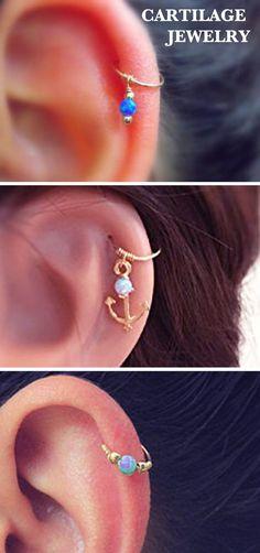 Cartilage Ear Piercing Ideas Jewelry Rings Hoops Earrings in Gold - MyBodiArt.com #Piercings