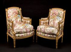 A pair of Louis XVI carved giltwood bergeres attributed to Antoine Gaillard third quarter 18th century