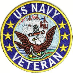 Shop embroidered military and veteran iron on patches. Military patches and veteran morale iron on patches for vests, biker jackets and clothes. Navy Veteran, Military Veterans, Navy Day, Go Navy, Badges, Us Navy Uniforms, Military Careers, Navy Military