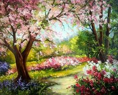 Ideas for landscape paintings acrylic beautiful Watercolor Landscape, Landscape Art, Landscape Paintings, Watercolor Art, Spring Painting, Garden Painting, Beautiful Nature Wallpaper, Beautiful Paintings, Images D'art