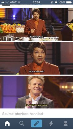 """My mom called Gordon """"David Ramsay"""" the other day and then after a few moments said """"oh! David's the money guy! Stupid Funny Memes, Funny Relatable Memes, Hilarious, Gordon Ramsay Funny, Gorden Ramsey, Magic Memes, Fandom Memes, Daily Funny, Funny Messages"""