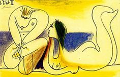 """Pablo Picasso - """"On the beach"""", 1961"""