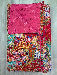 Pink Paisley Indian Cotton Handmade Bedspread Blanket, Reversible Gudri Ralli Hippie Coverlet, Queen Kantha Decor Art by eLcrafto on Etsy https://www.etsy.com/listing/199640322/pink-paisley-indian-cotton-handmade