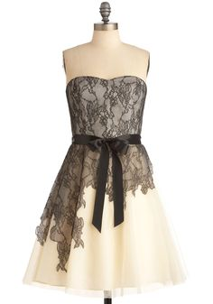 Possible reception dress?.....The Night's Scrim Dress by Max and Cleo - Formal, Tan / Cream, Black, Floral, Bows, Lace, Prom, Wedding, A-line, Strapless, Cream, White, Long
